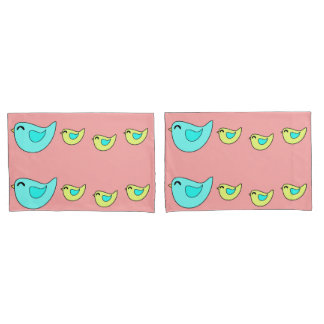 Cute birds family peach yellow pillowcase
