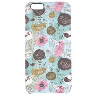 Cute Birds & Flowers Pattern In Brown Pink & Blue Clear iPhone 6 Plus Case