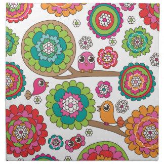 Cute birds in trees flower pattern printed napkins