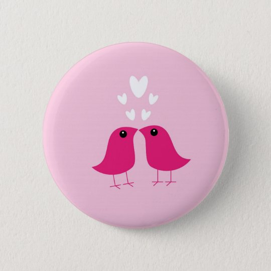 Cute birds love hearts button, pin, valentine gift 6 cm round badge