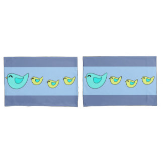 Cute birds mom and kids blue pillowcases