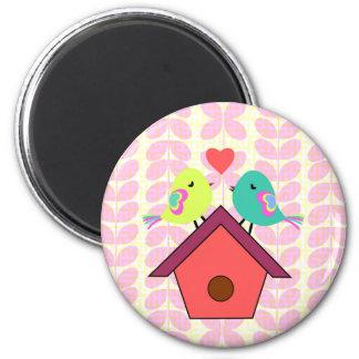 Cute birds- new home 6 cm round magnet
