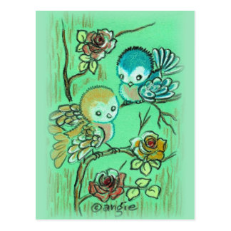 Cute Birds On Rose Bush Postcard