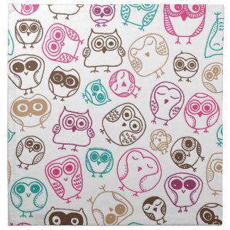Cute birds owl pattern in pink blue and brown napkin