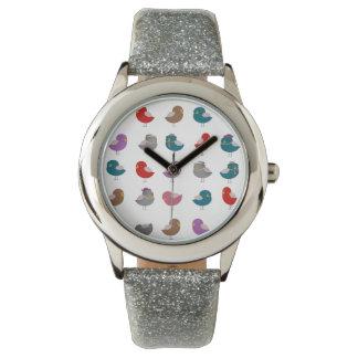 Cute Birds Pattern Silver Glitter Strap Watch