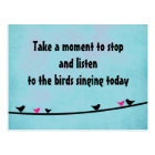 Cute birds singing postcard