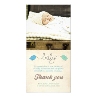 Cute Birds Thank You Note Baby Boy Photo Template