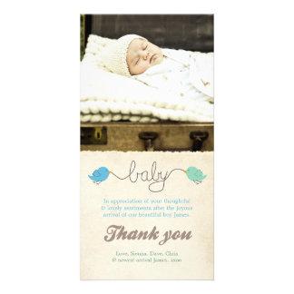 Cute Birds Thank You Note Baby Boy Photo Template Custom Photo Card