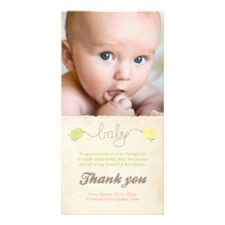 Cute Birds Thank You Note Baby Photo Template Customized Photo Card