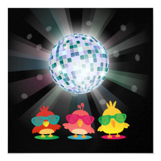 Cute Birds with Shades Dancing & Partying 13 Cm X 13 Cm Square Invitation Card