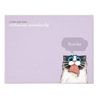 Cute Birman Cat Eating Salmon Thank You Note Card 11 Cm X 14 Cm Invitation Card