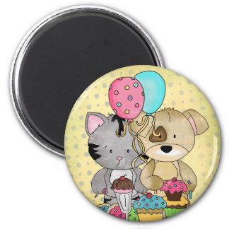 Cute Birthday 6 Cm Round Magnet