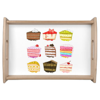 Cute birthday cakes colourful cream serving tray