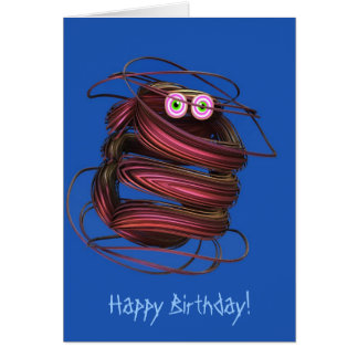 Cute birthday card with fantasy beetle
