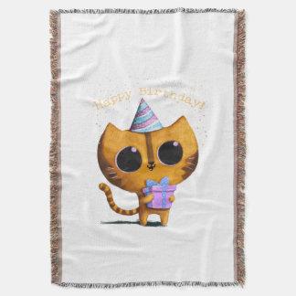 Cute Birthday Cat Throw Blanket