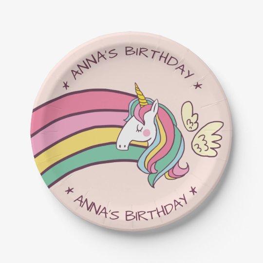 Cute Birthday Doodle Flying Rainbow Unicorn Paper Plate