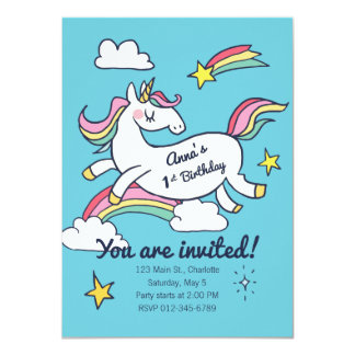 Cute Birthday Doodle Rainbow Unicorn and Stars. Card