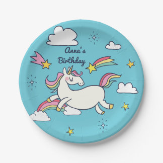 Cute Birthday Doodle Rainbow Unicorn Stars Clouds Paper Plate