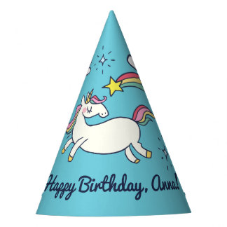Cute Birthday Doodle Rainbow Unicorn Stars Clouds Party Hat