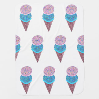 Cute Birthday Double Ice Cream In Cone Tiled Baby Blankets