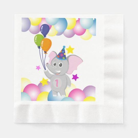 Cute Birthday elephant with balloons Disposable Napkin