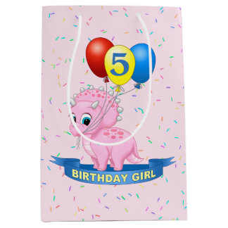 Cute Birthday Girl Pink Baby Triceratops Dino Medium Gift Bag