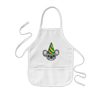 Cute Birthday Koala in Party Hat Drawing Apron
