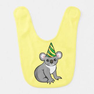 Cute Birthday Koala in Party Hat Drawing Baby Bib