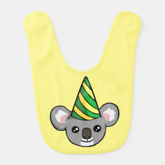 Cute Birthday Koala in Party Hat Drawing Baby Bib