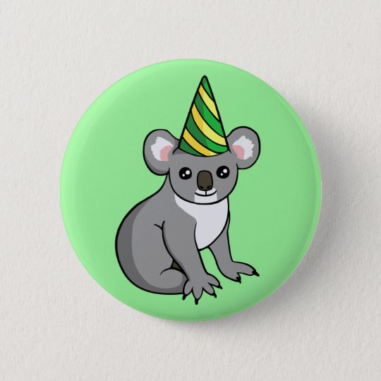 Cute Birthday Koala in Party Hat Drawing Badge