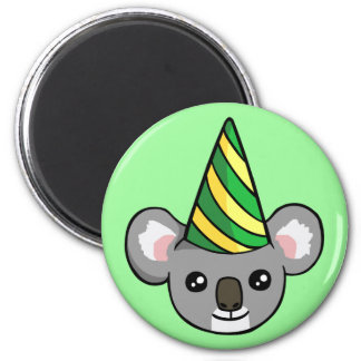 Cute Birthday Koala in Party Hat Drawing Magnet