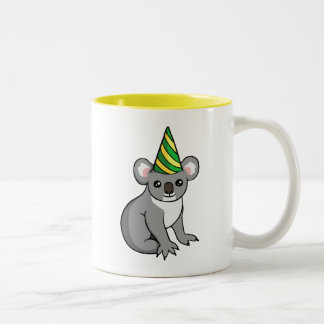 Cute Birthday Koala in Party Hat Drawing Mug