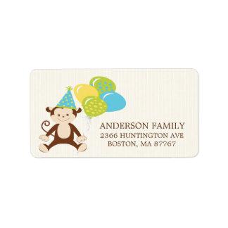 Cute Birthday Monkey Return Address Label