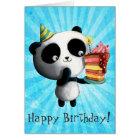 Cute Birthday Panda with Cake Card