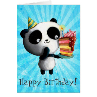 Cute Birthday Panda with Cake Greeting Card