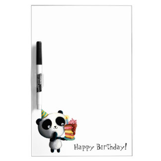 Cute Birthday Panda with Cake Dry Erase Board