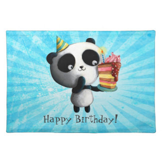 Cute Birthday Panda with Cake Placemat