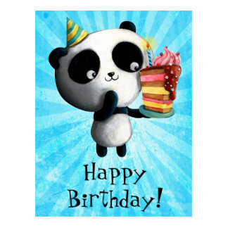 Cute Birthday Panda with Cake Post Cards