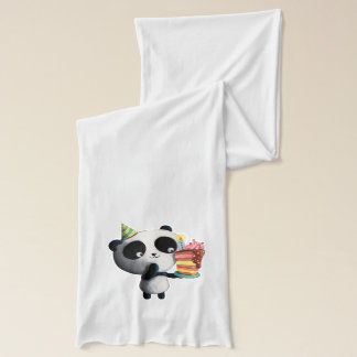 Cute Birthday Panda with Cake Scarf