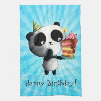 Cute Birthday Panda with Cake Tea Towel