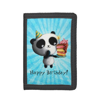 Cute Birthday Panda with Cake Trifold Wallets