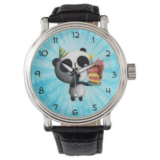 Cute Birthday Panda with Cake Watch