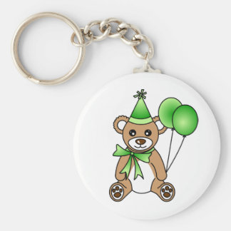 Cute Birthday Teddy Bear - Green Key Ring