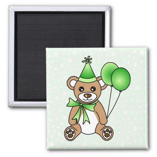 Cute Birthday Teddy Bear - Green Magnet