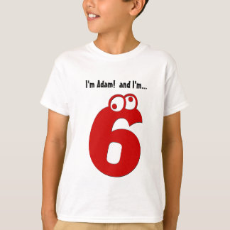 Cute Birthday Tee for Six Year Old Fun Red Number