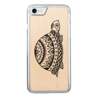 Cute Black Abstract Floral Turtle Line Drawing Carved iPhone 8/7 Case