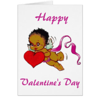 Cute Black African Cupid Card