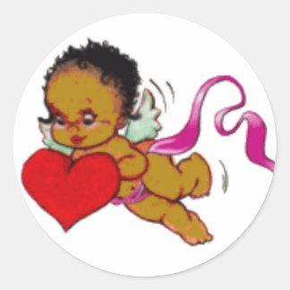 Cute Black African Cupid Classic Round Sticker