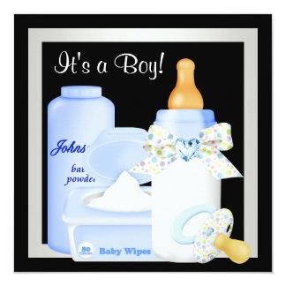Cute Black and Blue Baby Boy Shower 13 Cm X 13 Cm Square Invitation Card