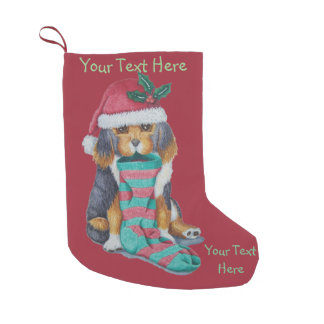 cute black and brown puppy with christmas stocking